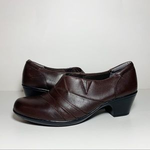 Clarks Brown Leather Heeled Clogs